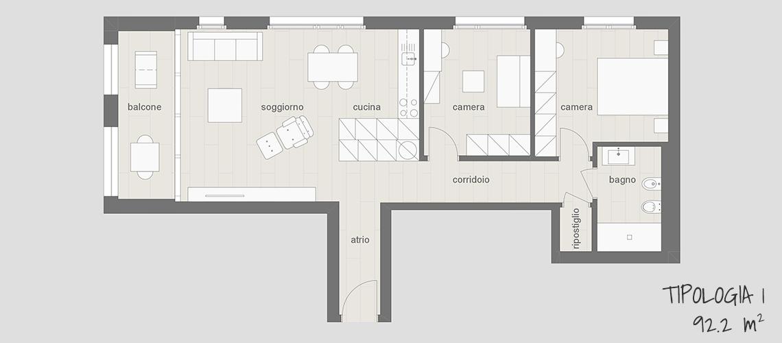 Appartamento in affitto arredato a Lugano tipo 1 92.2 mq con balcone, cucina, soggiorno, due camere, ripostiglio e bagno