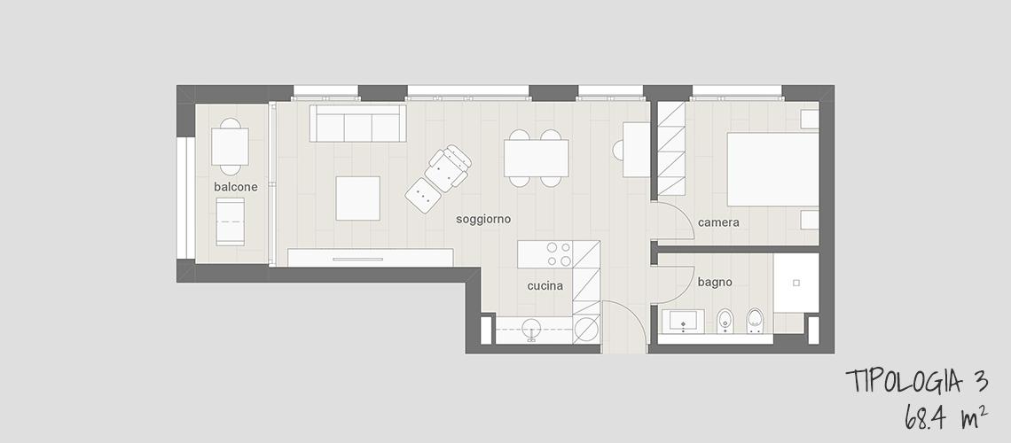 Appartamento in affitto arredato a Lugano tipo 3 68.4 mq con balcone, cucina, soggiorno, camera da letto e bagno.