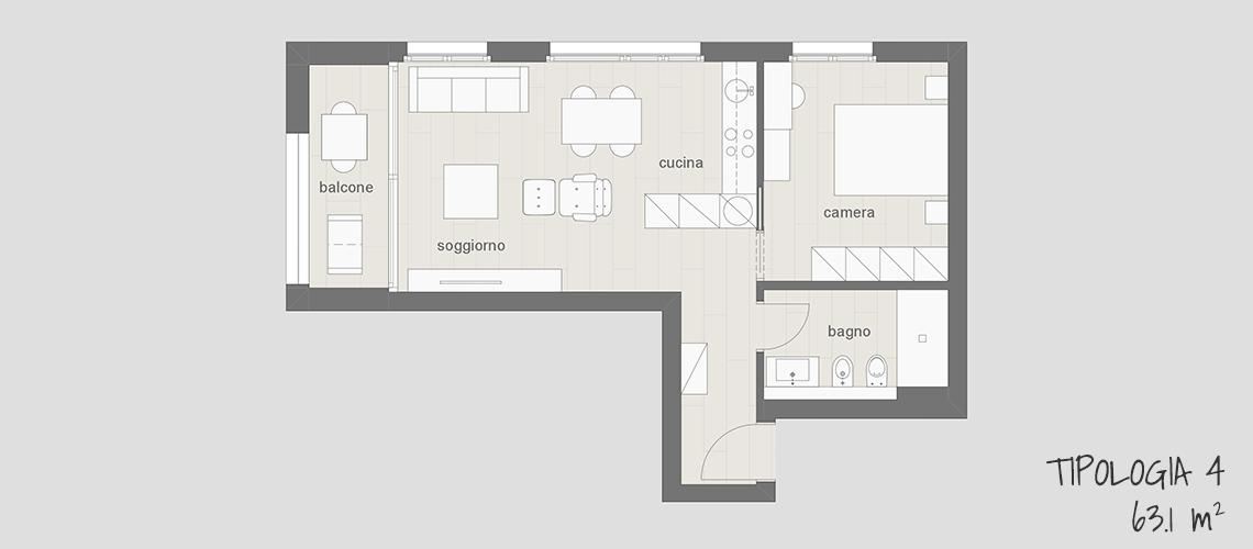 Appartamento in affitto arredato a Lugano tipo 4 63.1 mq con balcone, cucina, soggiorno, camera da letto e bagno.