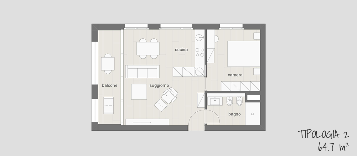 Appartamento arredato completamente in affitto a Lugano tipo 2 64.7 mq con balcone, cucina, soggiorno, camera e bagno
